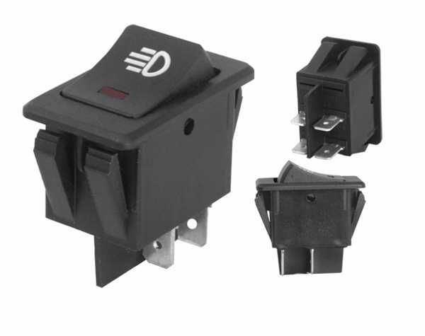 Přepínač kolébkový automobilový ON-OFF-ON 2pol.12V