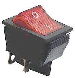 Vypínač kolébkový ON-OFF 2pol.250V/15A červený