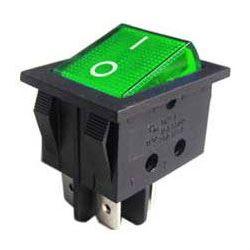 Vypínač kolébkový ON-OFF 2pol.250V/15A zelený s doutnavkou