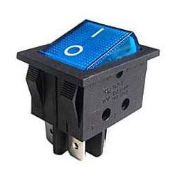 Vypínač kolébkový ON-OFF 2pol.250V/15A modrý s doutnavkou