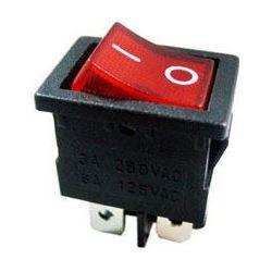 Vypínač kolébkový OFF-ON 2pol.250V/6A červený s doutnavkou