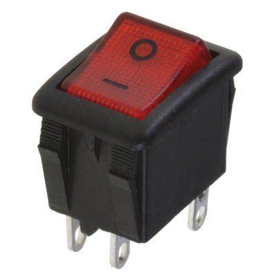 Vypínač kolébkový OFF-ON 2pol.250V/10A červený OMEGA I3913 páj.oko