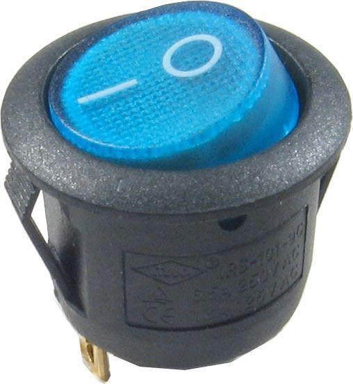 Vypínač kolébkový ON-OFF 1p.250V/6,5A modrý s doutnavkou
