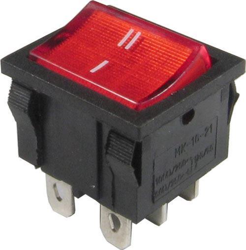 Přepínač kolébkový ON-ON 2pol.250V/6A prosvětlený