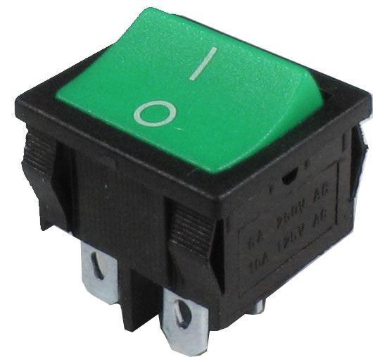 Vypínač kolébkový ON-OFF 2pol.250V/6A zelený