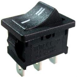 Tlačítko kolébkové MRS-112, ON-(ON) 1pol.250V/3A černé