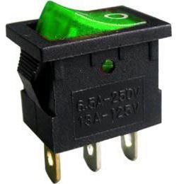 Vypínač kolébkový MIRS-101, OFF-ON 1pol.250V/3A, zelený, prosvětlený