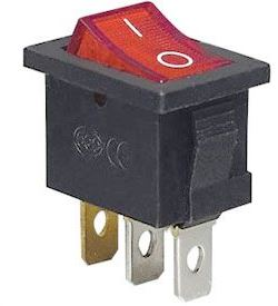 Vypínač kolébkový OFF-ON 1pól.250V/6A, červený, prosvětlení 230V