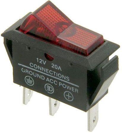 Vypínač kolébkový ASW-09D, OFF-ON 1pol.12V/20A červený, prosvětlený