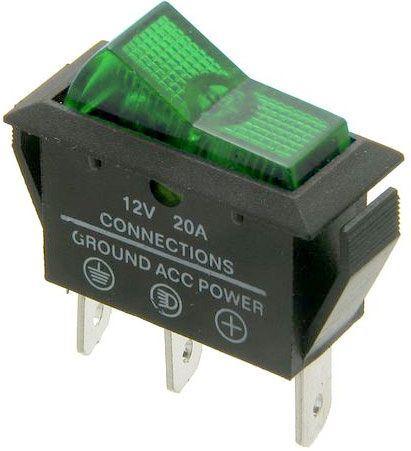 Vypínač kolébkový OFF-ON 1pol.12V/20A,zelený prosvětlený