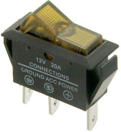 Vypínač kolébkový OFF-ON 1pol.12V/20A,žlutý prosvětlený