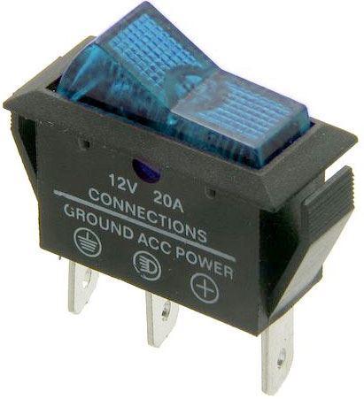 Vypínač kolébkový ASW-09D, OFF-ON 1pol.12V/20A modrý, prosvětlený