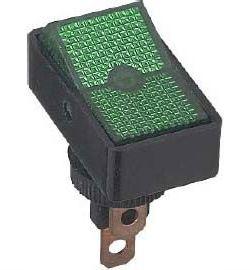 Vypínač kolébkový ASW-11D, ON-OFF 1pol.12V/20A zelený, prosvětlený