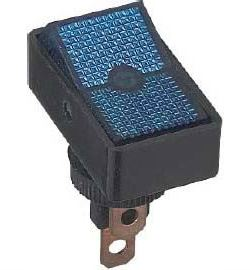 Vypínač kolébkový ASW-11D, ON-OFF 1pol.12V/20A modrý, prosvětlený