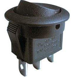 Přepínač kolébkový RS102-8C, ON-ON 1pol.černý 250V/6A