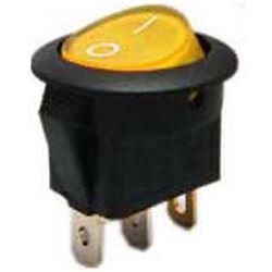 Vypínač kolébkový IRS-101-8C/D, ON-OFF 1pol.12V/16A žlutý,prosvětlený