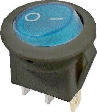 Vypínač kolébkový IRS-101-8C/D, OFF-ON 1pol.12V/16A modrý,prosvětlený