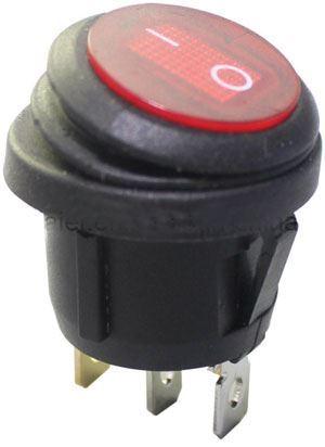 Vypínač kolébkový KCD1-5-101NW, OFF-ON 1pol.250V/6A červený, vodotěsný