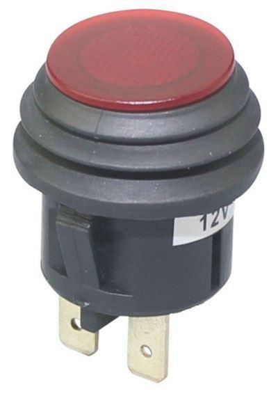 Vypínač stiskací OFF-ON 1pol.12V/20A červený vodotěsný, prosvětlený