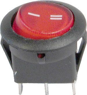 Přepínač kolébkový ON-ON 1pol.červený 12V/16A