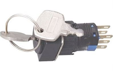 Přepínač s klíčem A16-22ZK2 ON-ON 2pól. 250V/3A