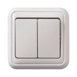 Vypínač dvojitý č.5B PANELÁK bílý, na omítku