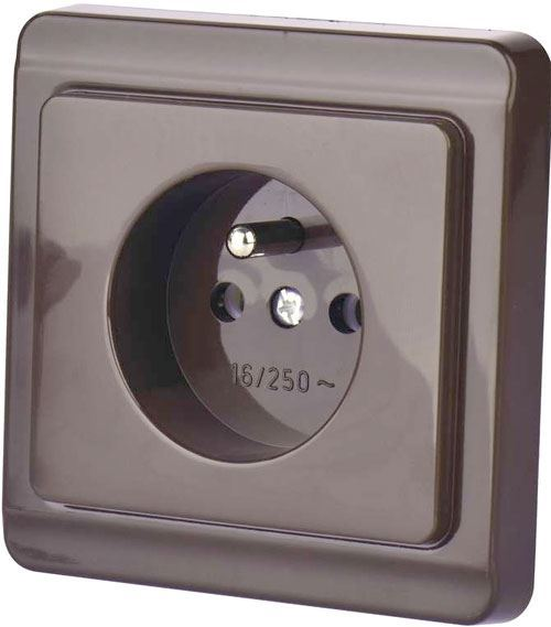 Zásuvka 230V/16A 4FN15059, STANDARD LESK, pod omítku, hnědá