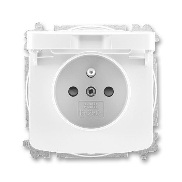 5519A-A02397 B Zásuvka jednonásobná s víčkem a clonkami, bílá, ABB