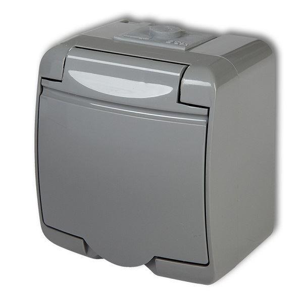 Zásuvka 250V/16A IP54, šedá, Karlik