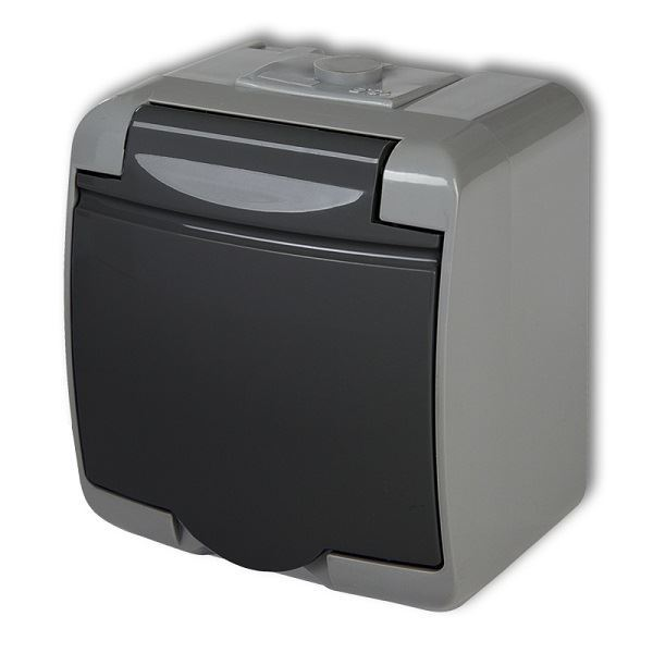 Zásuvka 250V/16A IP54, grafitová , Karlik