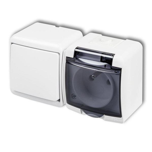 Zásuvka s vypínačem č.1, IP54, bílá, Karlik