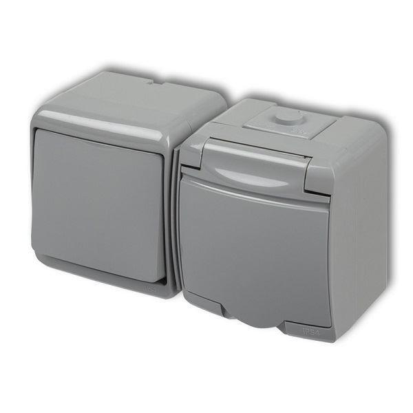 Zásuvka s vypínačem č.1, IP54, šedá, Karlik