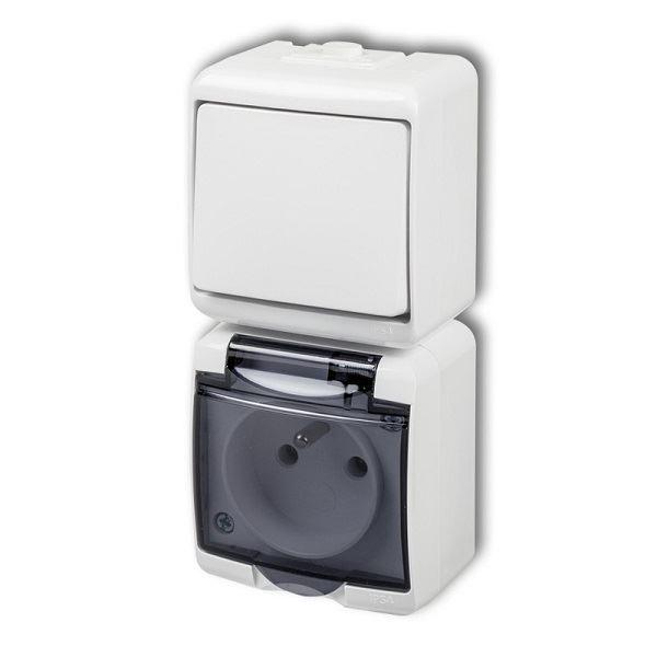 Zásuvka s vypínačem č.1, IP54, bílá, vertikalní, Karlik