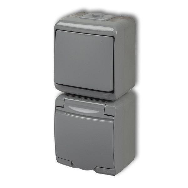 Zásuvka s vypínačem č.1, IP54, šedá, vertikalní, Karlik