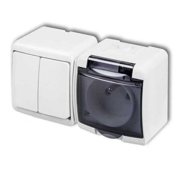 Zásuvka s vypínačem č.5, IP54, bílá, Karlik
