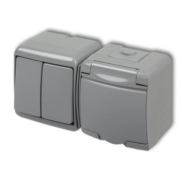 Zásuvka s vypínačem č.5, IP54, šedá, Karlik