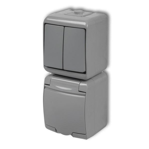 Zásuvka s vypínačem č.5, IP54, šedá, vertikalní, Karlik
