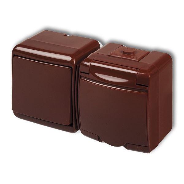 Zásuvka s vypínačem č.1, IP54, hnědá, Karlik