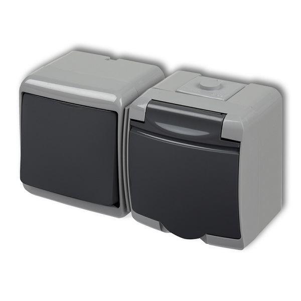 Zásuvka s vypínačem č.1, IP54, grafitová, Karlik