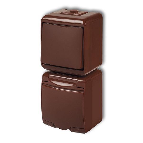 Zásuvka s vypínačem č.1, IP54, hnědá, vertikalní, Karlik