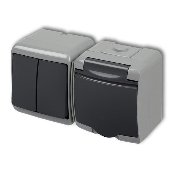 Zásuvka s vypínačem č.5, IP54, grafitová, Karlik