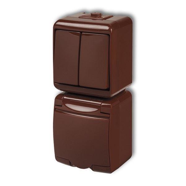Zásuvka s vypínačem č.5, IP54, hnědá, vertikalní, Karlik