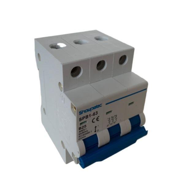 Jistič SPB1-63 400V/25A/B 3fázový na DIN lištu