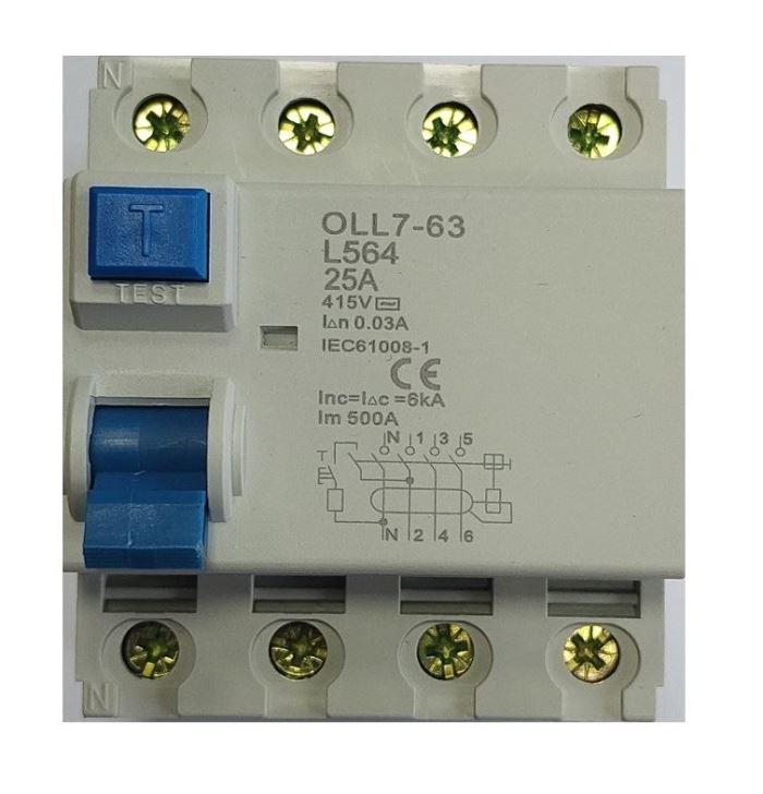 Chránič ID 400V/25A-30mA 3fázový na DIN lištu