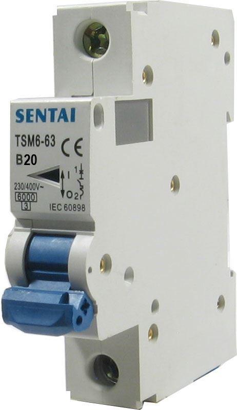 Jistič TSM6-63 230V/20A/B 1fázový na DIN lištu
