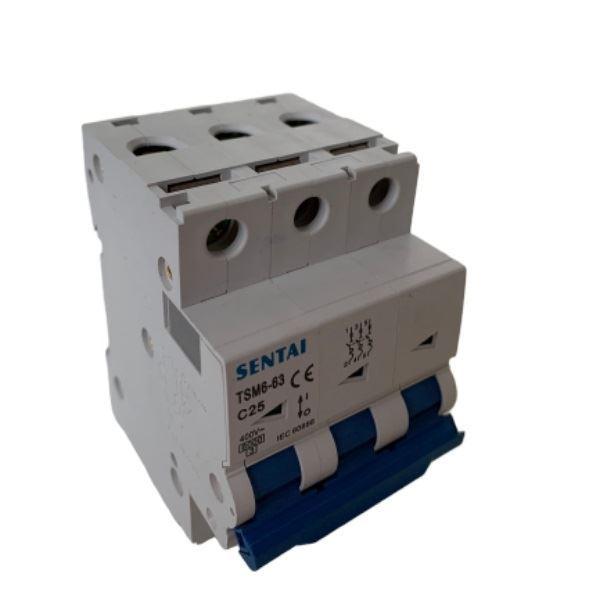 Jistič TSM6-63 400V/25A/C 3fázový na DIN lištu