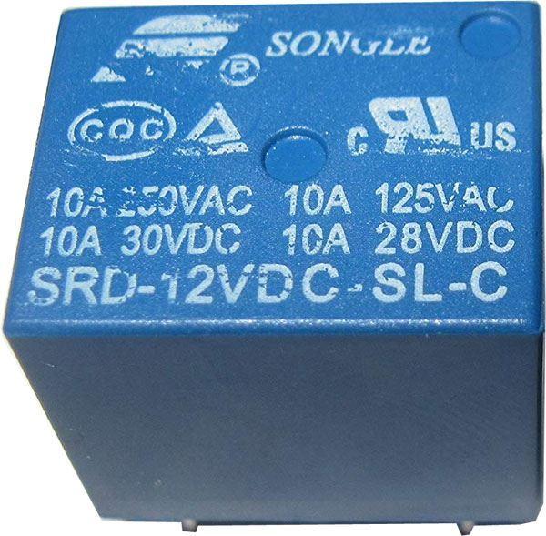 Relé Songle SRD-12VDC-SL-C 12V, přepínací kontakt 250VAC/10A