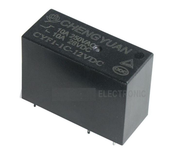 Relé CYF1-1C-12VDC 12V, kontakt 250VAC/10A