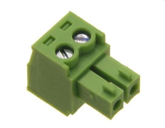Svorkovnice násuvná 2pin na kabel RM 3,81 250V/7A, zelená