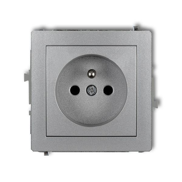 Zásuvka 250V/16A pod omítku, stříbrná metalická, DECO Karlik